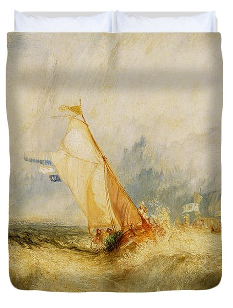 Ships A Sea Getting A Good Wetting Duvet Cover by Joseph Mallord