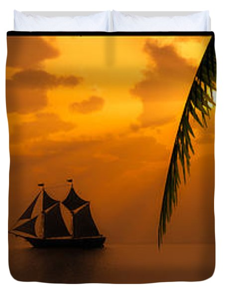 Ships And The Golden Dawn... Duvet Cover by Tim Fillingim