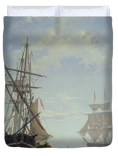 Ships In A Dutch Estuary Duvet Cover