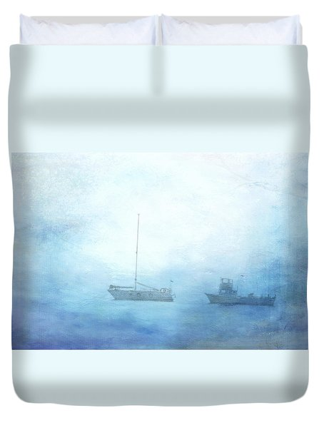 Ships In The Morning Haze  Duvet Cover