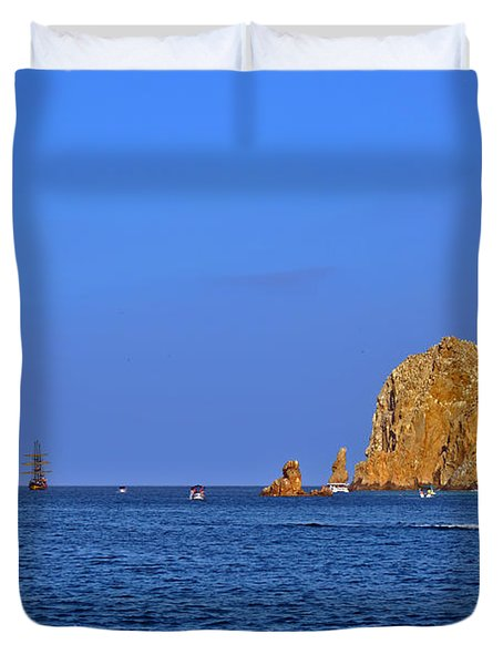 Duvet Cover featuring the photograph Ships Lining Up At Land's End by Christine Till