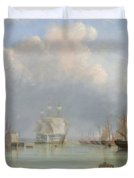 Ships Off Ryde Duvet Cover by Arthur Wellington Fowles