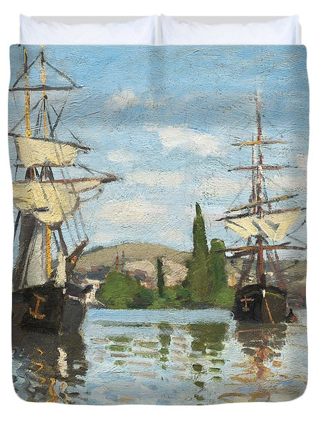 Ships Riding On The Seine At Rouen Duvet Cover by Claude Monet