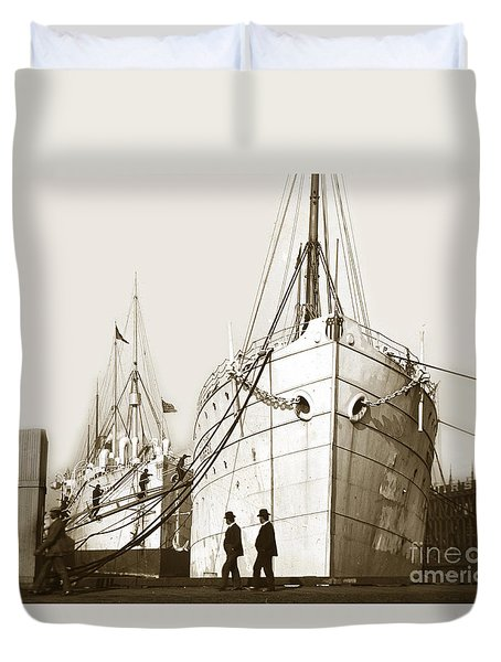 Duvet Cover featuring the photograph Steam Ships San Francisco California   Circa 1900 Historical Photo by California Views Mr Pat Hathaway Archives