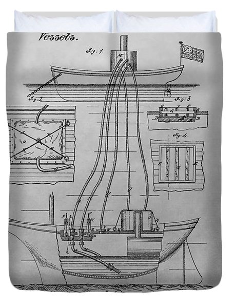 Shipwreck Recovery Patent Drawing Duvet Cover