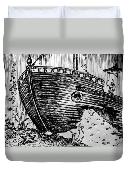 Duvet Cover featuring the painting Shipwreck by Salman Ravish