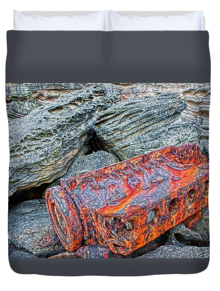 Duvet Cover featuring the photograph Shipwrecked ? by Miroslava Jurcik