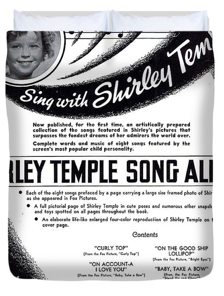 Shirley Temple Song Album Duvet Cover by Mel Thompson