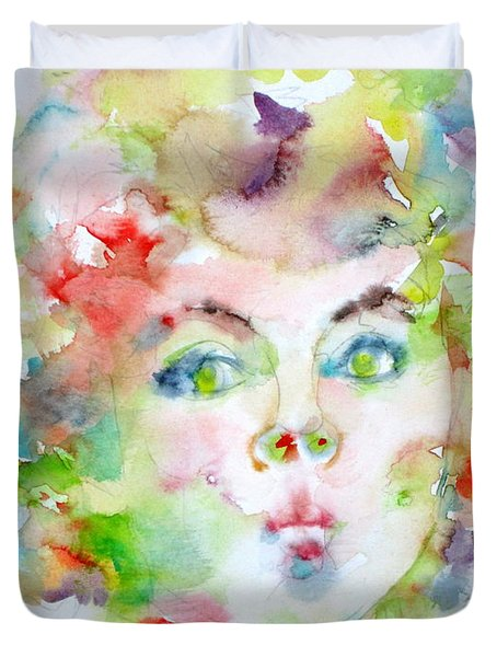 Shirley Temple - Watercolor Portrait.2 Duvet Cover