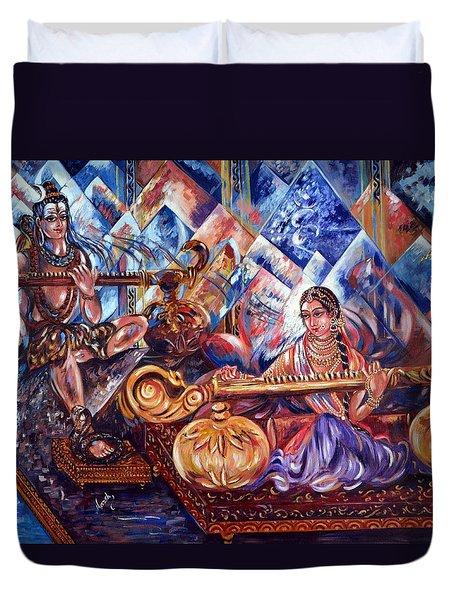Shiva Parvati Duvet Cover by Harsh Malik