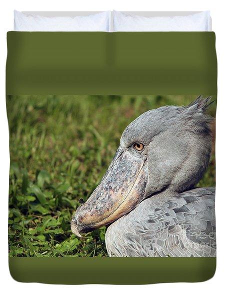 Duvet Cover featuring the photograph Shoebill Balaeniceps Rex by Liz Leyden