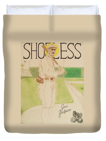 Duvet Cover featuring the painting Shoeless Joe Jackson by Rand Swift