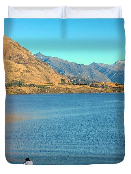 Duvet Cover featuring the photograph Shooting Ducks On Lake Wanaka by Stuart Litoff