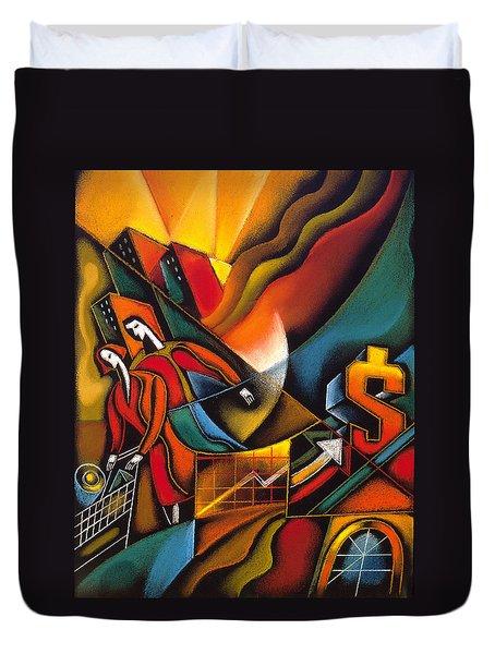 Shopping Duvet Cover by Leon Zernitsky