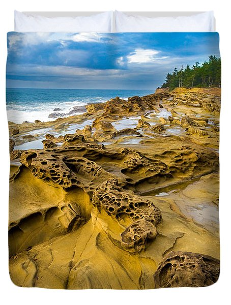 Shore Acres Sandstone Duvet Cover by Robert Bynum