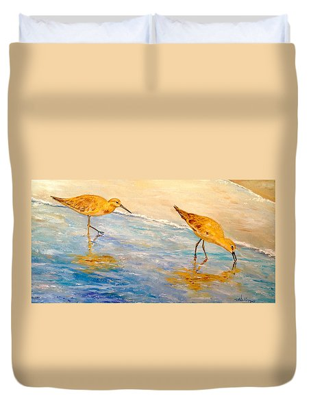 Duvet Cover featuring the painting Shore Patrol by Alan Lakin