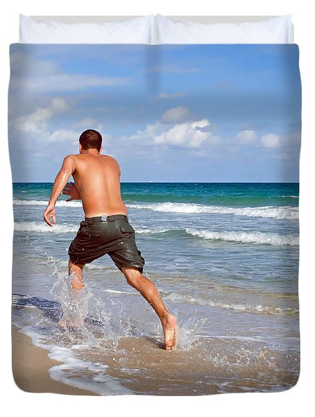Duvet Cover featuring the photograph Shore Play by Keith Armstrong