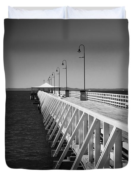 Shorncliffe Pier In Monochrome Duvet Cover
