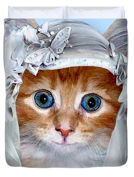 Shotgun Bride  Cats In Hats Duvet Cover