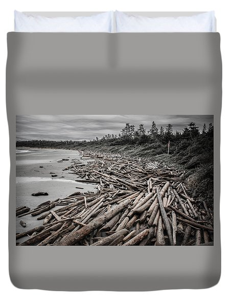 Shoved Ashore Driftwood  Duvet Cover by Roxy Hurtubise