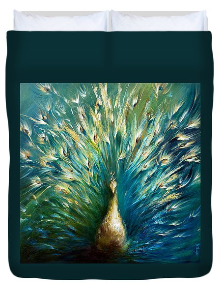 Duvet Cover featuring the painting Show Off 3 White Peacock by Dina Dargo