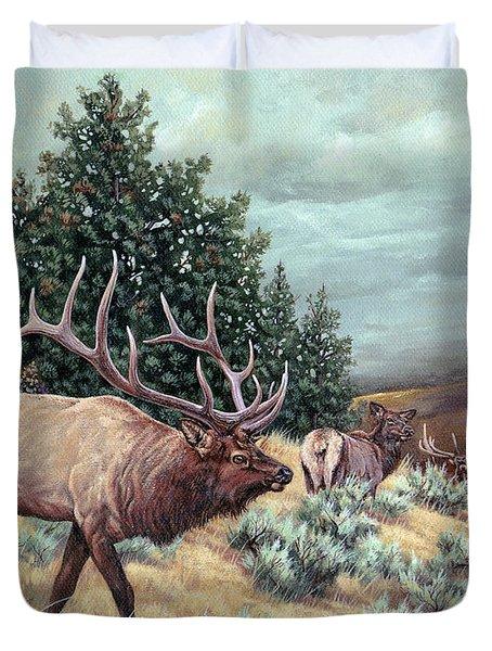 Duvet Cover featuring the painting Showdown by Craig T Burgwardt