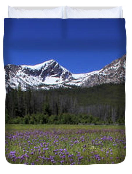 Showy Penstemon Wildflowers Sawtooth Mountains Duvet Cover