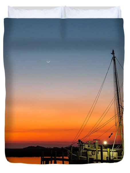 Shrimp Boat At Dusk Folly Beach Duvet Cover