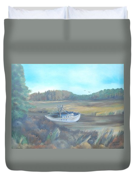 Shrimp Boat Duvet Cover by Dawn Nickel