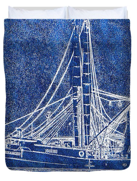 Shrimp Boat - Dock - Coastal Dreaming Duvet Cover by Barry Jones
