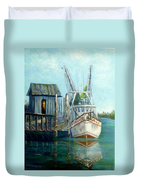 Shrimp Boat Paintings Duvet Cover