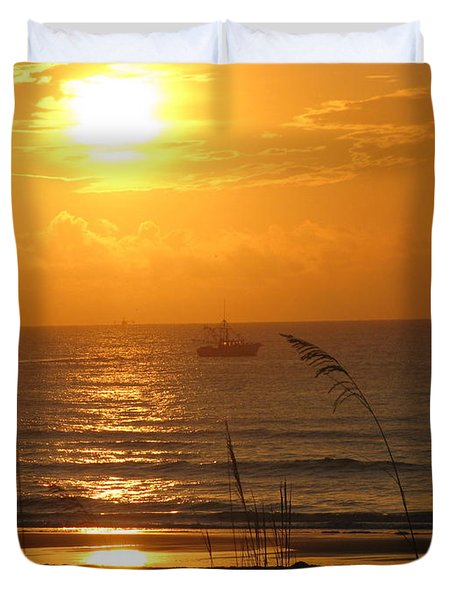 Shrimp Boat Sunrise Duvet Cover by Ellen Meakin