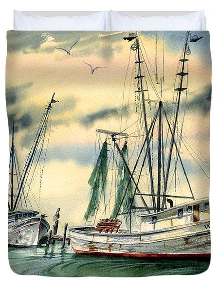 Shrimp Boats In The Keys Duvet Cover