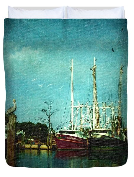 Shrimp Boats Is A Comin Duvet Cover by Lianne Schneider