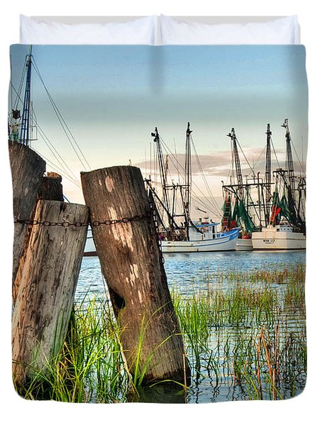 Shrimp Dock Pilings Duvet Cover