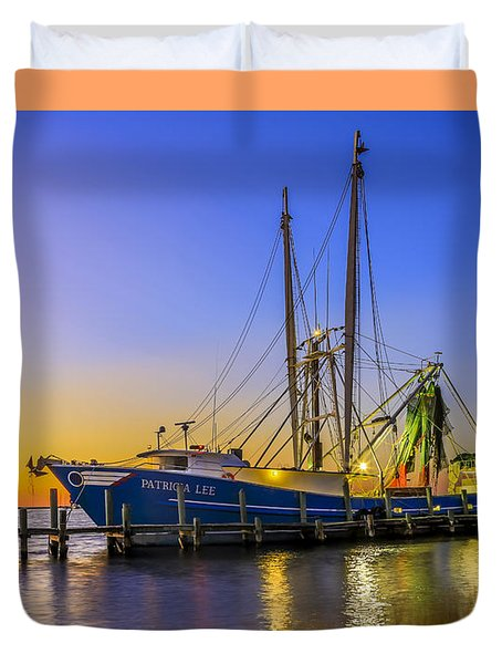 Duvet Cover featuring the photograph Shrimp Boat Sunset by Paula Porterfield-Izzo
