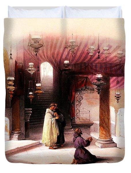 Shrine Of The Nativity Bethlehem April 6th 1839 Duvet Cover