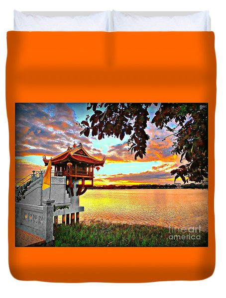 Shrine On The Lake. Duvet Cover