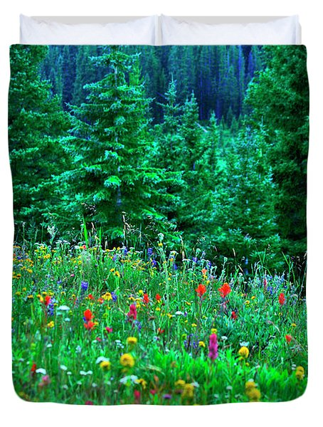 Shrine Pass Wildflowers Duvet Cover by Jeremy Rhoades