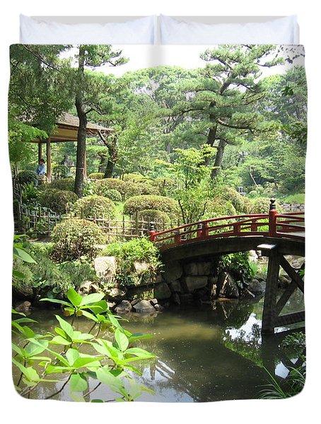 Shukkeien Bridge Duvet Cover