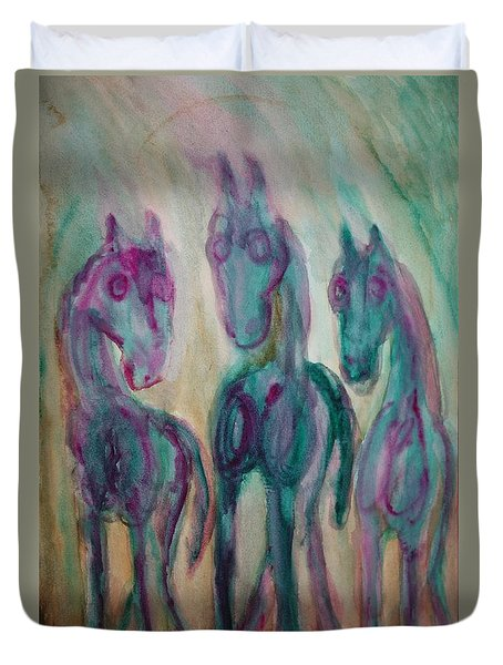Green Horses Are Shy But Curious  Duvet Cover
