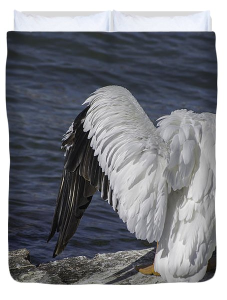 Shy Pelican Duvet Cover by Diego Re