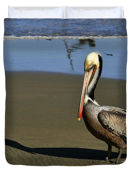 Duvet Cover featuring the digital art Shy Pelican by Gandz Photography