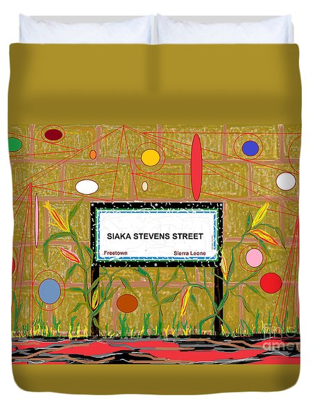 Duvet Cover featuring the digital art Siaka Stevens Street - Sierra Leone by Mudiama Kammoh