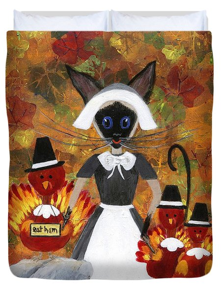 Siamese Queen Of Thanksgiving Duvet Cover by Jamie Frier