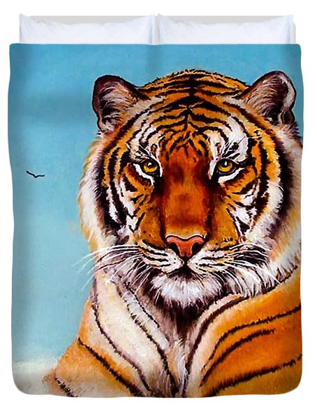 Duvet Cover featuring the painting Siberian King Tiger by Bob and Nadine Johnston