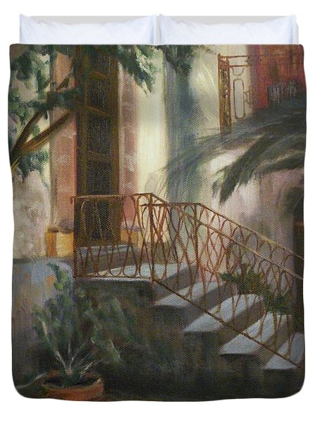 Duvet Cover featuring the painting Sicilian Nunnery by Donna Tuten