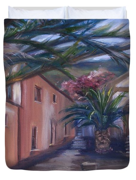 Duvet Cover featuring the painting Sicilian Nunnery II by Donna Tuten