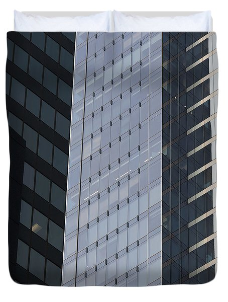 Side Of An Office Towers With Glass Duvet Cover by Keith Levit
