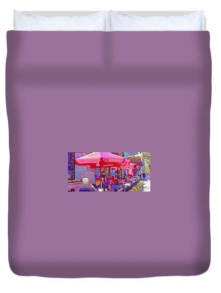 Sidewalk Cafe Digital Painting Duvet Cover